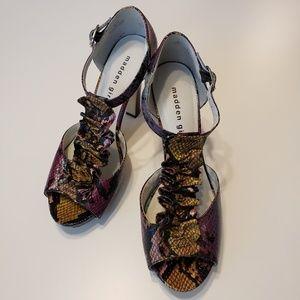 Madden Girl Peep Toe Sandals 4 Inch Stacked Heels